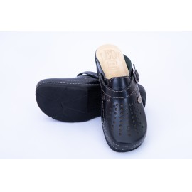Női bőr klumpa fekete gumis lábfej 552/10