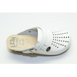 Női bőr klumpa fehér gumis lábfej 552/18