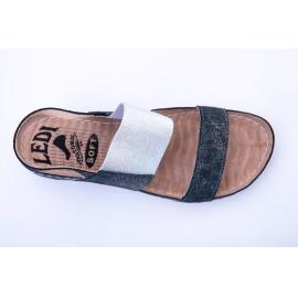 Női bőr szandál szürke ezüst gumis lábfejrész 730/CR8