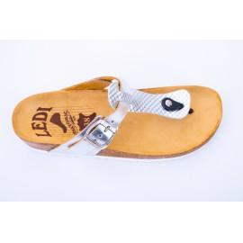 Női bőr lábujjközi papucs ezüst parafa csatos 905/LAM1