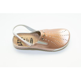 Női bőr klumpa bronz gumis lábfej tépőzáras pánt 728/2