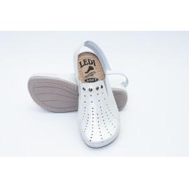 Női bőr klumpa fehér gyöngyház gumis lábfej tépőzáras pánt 728/1